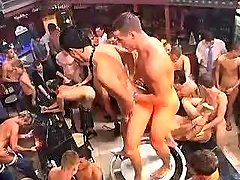 Dirty gay guys pour champagne assholes in gangbabg
