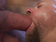 Lusty unshaved dilf deep maws big pecker in bathroom
