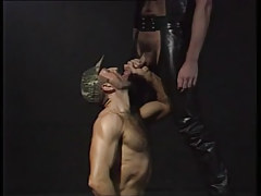 Bear man sucks hairy twink in leather