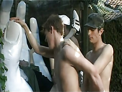 Army gay twinks fuck in group outdoor